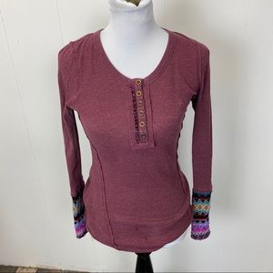 Maurices Burgundy Thermal Top with Decorative Cuff